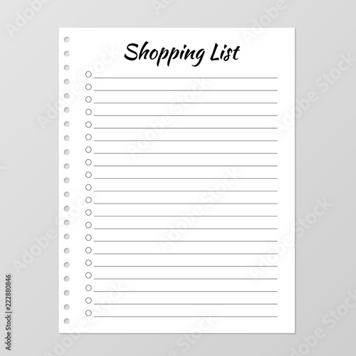 Shopping List Template Planner Page Lined And Numbered Paper Sheet Blank White Notebook