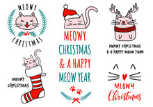 Meowy Christmas With Cute Cats, Vector Set