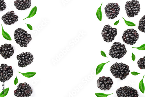 Valokuva  Fresh blackberry with leaves isolated on white background with copy space for your text