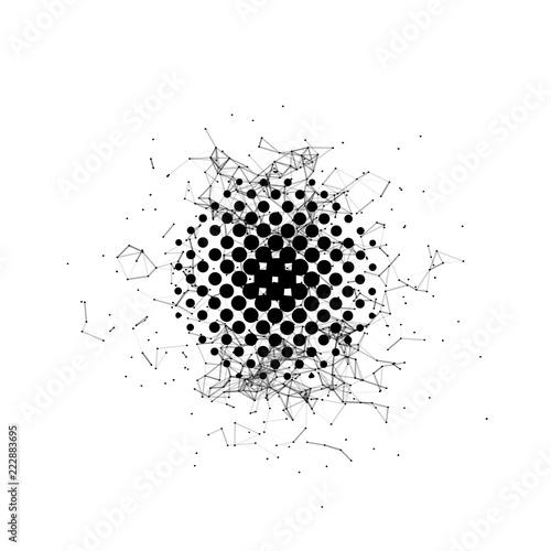 Halftone  Black circle  Futuristic technology style  Background