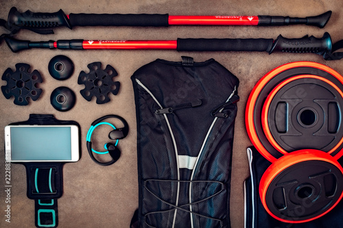 Set of several sports seen from above. Sports graphical resources. Lifestyle. Trekking, Running, gym, Yoga, wellness