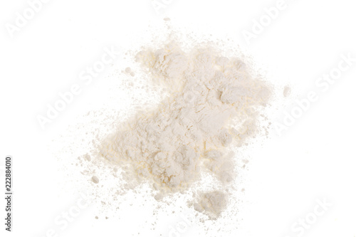 Pile of wheat flour isolated on white background. Top view. Flat lay