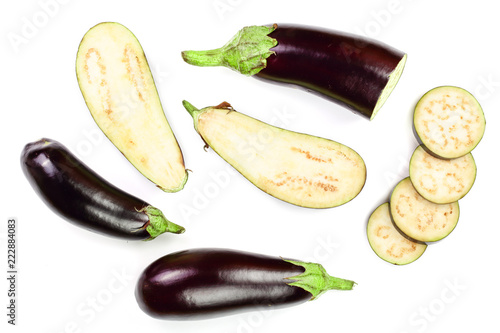 eggplant or aubergine isolated on white background Wallpaper Mural