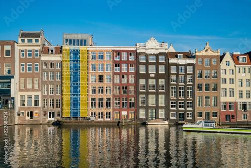 Interest Dutch house building at Amsterdam downtown Canvas Print