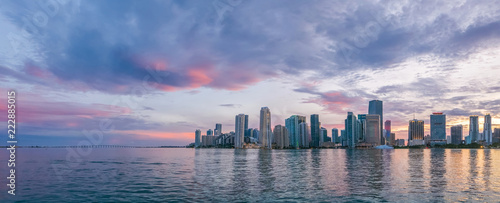 Spoed Foto op Canvas Canada Miami, wide panorama of urban skyline at beautiful sunset, vivid and dramatic sky