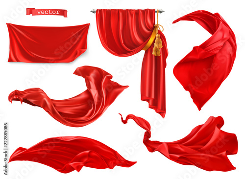 Fotografering Red curtain. 3d realistic vector set