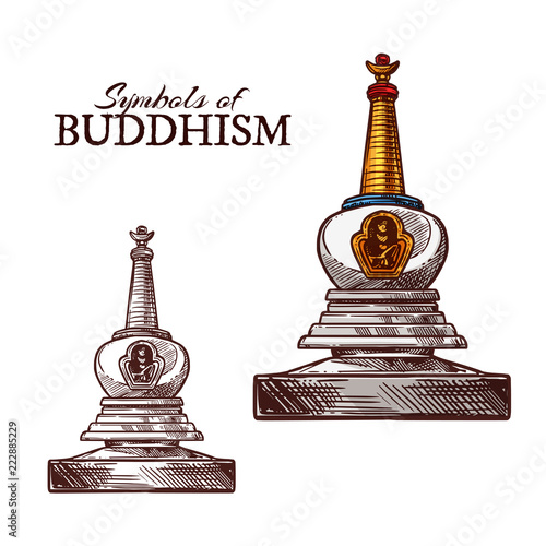 Fotografia Buddhism religion symbol of buddhist stupa sketch
