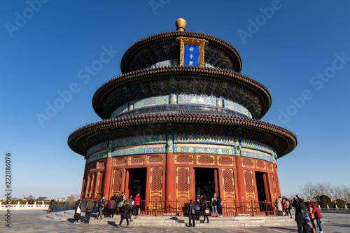 Poster Pekin BEIJING, CHINA - DEC 19, 2017: Temple of Heaven of Beijing at daytime with blue sky wide shot