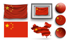 China Flags Collection Isolate...
