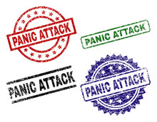 PANIC ATTACK Seal Prints With Distress Style. Black, Green,red,blue Vector Rubber Prints Of PANIC ATTACK Tag With Unclean Style. Rubber Seals With Round, Rectangle, Medallion Shapes.