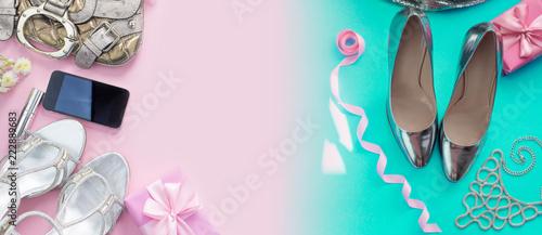 Banner Modern fashion accessories young women shoes handbag phone gadget lipstick cosmetics bouquet flowers pink background.