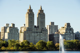New York City Manhattan Central Park panorama, lake with fountain and skyscrapers on Background.