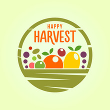 Basket With Harvest - Stylized Cut Out Icon