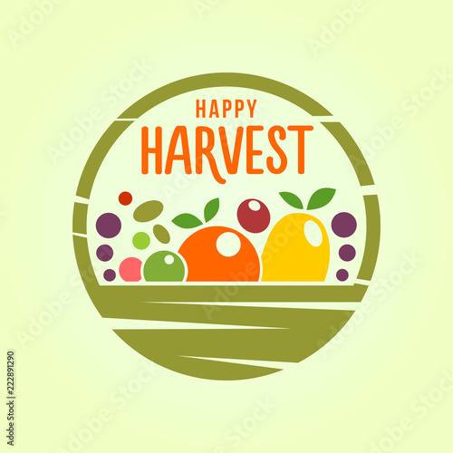 Fotografia  Basket with harvest - stylized cut out icon