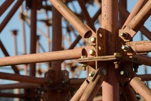 Scaffolding Elements Construction. Metal Scaffolding Tubes And Bars. Construction Site Details. Bridge Support.