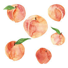 Watercolor Peaches Set
