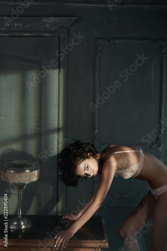Poster womenART erotic portrait of young beautiful woman in sexy lingerie