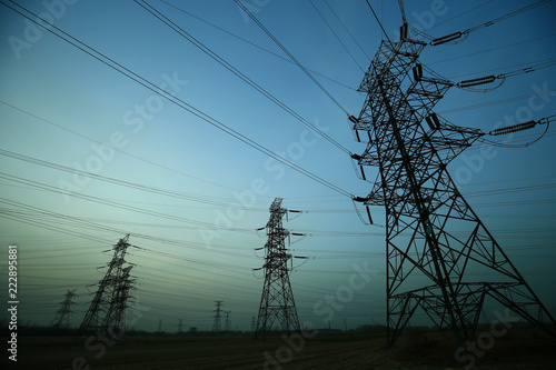 Foto  Pylon, high-voltage tower sky background.