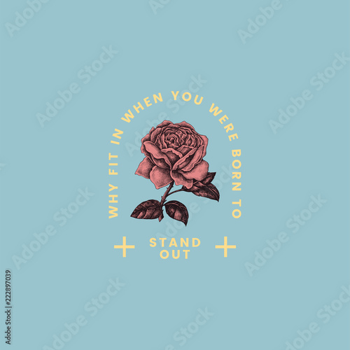 Photo Stand out rose logo design vector