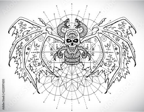 Fotografie, Obraz Demon with mystic sacred geometry symbols against pattern circle