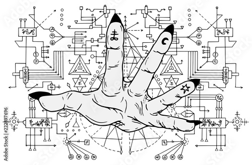 Open palm with mystic signs on fingers against sacred