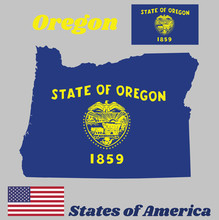 Map Outline And Flag Of Oregon, Seal Of Oregon In Gold On An Azure Field. Above The Seal The Text State Of Oregon. With American Flag.