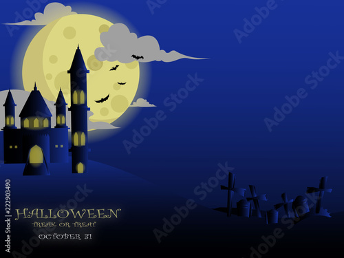 Poster Prune Design Background and Illustration of Celebrating Halloween With Big Light Moon, Castle, Bat, and Cemetery.