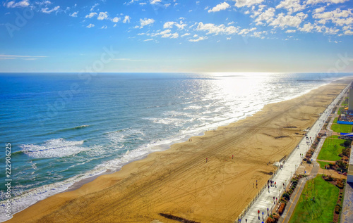 Virginia Beach Boardwalk | High aerial panoramic view | Virginia Beach, VA, USA Canvas Print