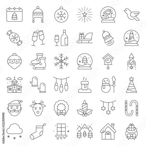 Fototapeta Merry Christmas icon set, outline editable stroke obraz na płótnie