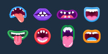 Lips Of Monsters, In Different Positions, Terrible Emotions, Facial Expressions.