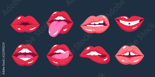 Painted female lips, in cartoon style, in different emotions, expressions Fototapeta