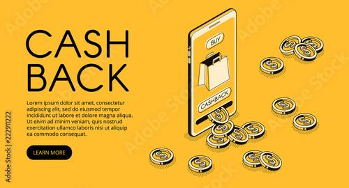 Fotografía  Cashback shopping vector illustration, money cash back reward for purchase from smartphone application