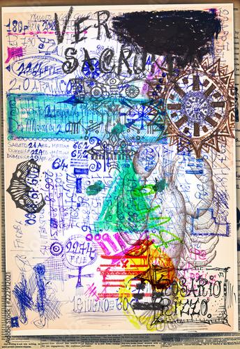 Tuinposter Imagination Collage misteriosi, alchemici, e esoterici con carte dei tarocchi e simboli astrologici