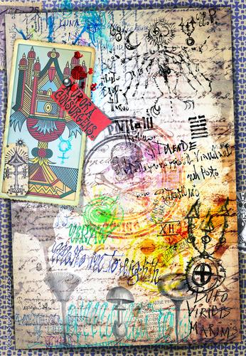 Spoed Foto op Canvas Imagination Collage misteriosi, alchemici, e esoterici con carte dei tarocchi e simboli astrologici