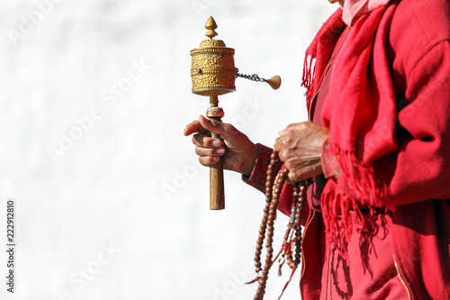 Tibetan Prayer Wheel in Bhutanese prayer, Bhutan. Fototapeta