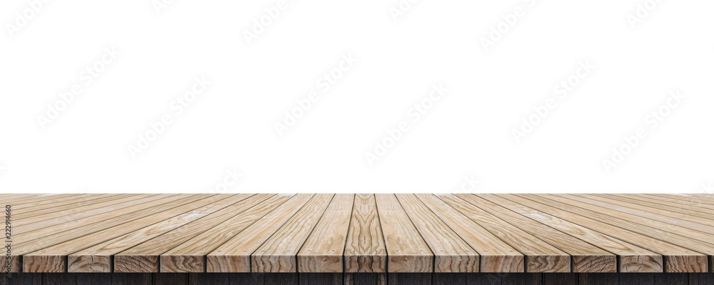 Fototapety, obrazy: Empty old grunge wood plank table top isolated on white background,Use for display for montage of product and leave space for replace of your background.