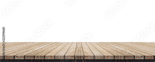 Fotografie, Obraz  Empty old grunge wood plank table top isolated on white background,Use for display for montage of product and leave space for replace of your background