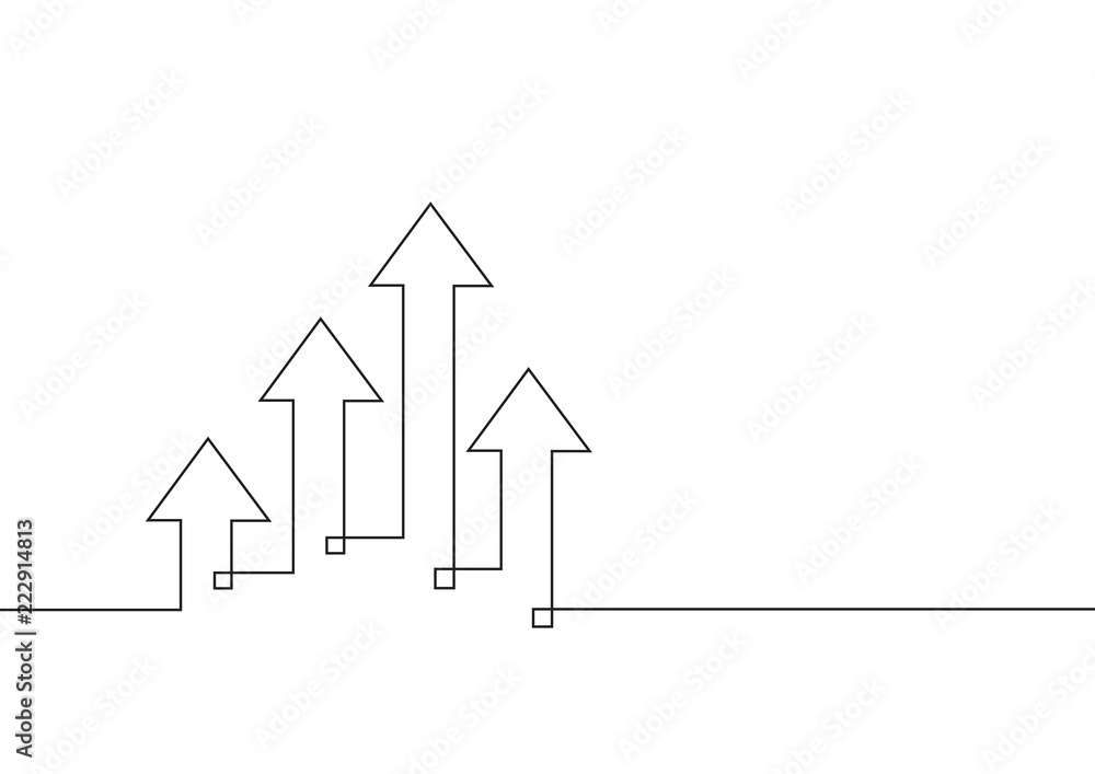 Fototapeta Continuous line drawing of growth arrows. Business concept. Vector illustration