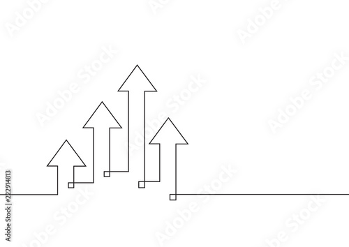Obraz Continuous line drawing of growth arrows. Business concept. Vector illustration - fototapety do salonu