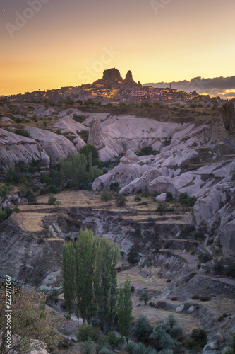 Foto op Canvas Turkije Uchisar Castle in Cappadocia Turkey, at Dusk