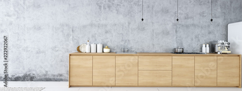 Photo  frontal view of modern nordic kitchen in loft apartment