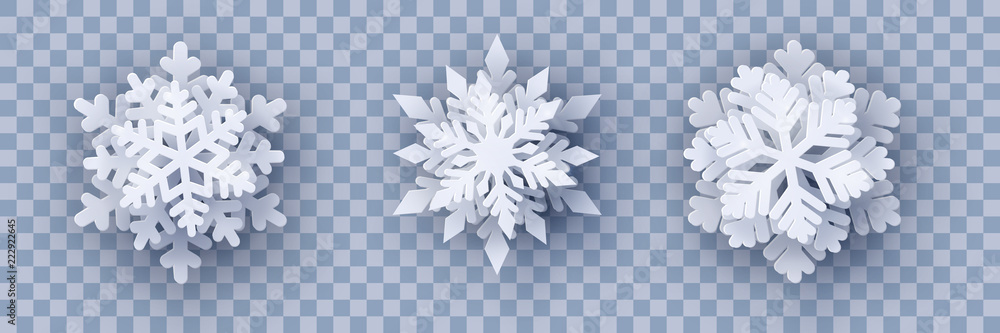 Fototapeta Vector set of 3 white Christmas paper cut 3d layered snowflakes with shadow on transparency background. New year and Christmas design elements