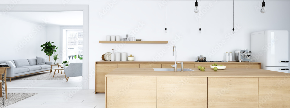 Fototapeta frontal view of modern nordic kitchen in loft apartment. 3D rendering