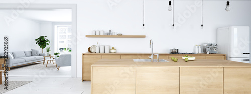 frontal view of modern nordic kitchen in loft apartment Tableau sur Toile