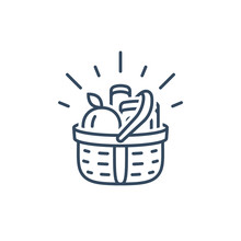 Grocery Basket, Food Shopping, Supermarket Special Offer, Vector Linear Icon
