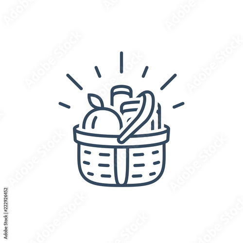 Grocery basket, food shopping, supermarket special offer, vector linear icon Tableau sur Toile