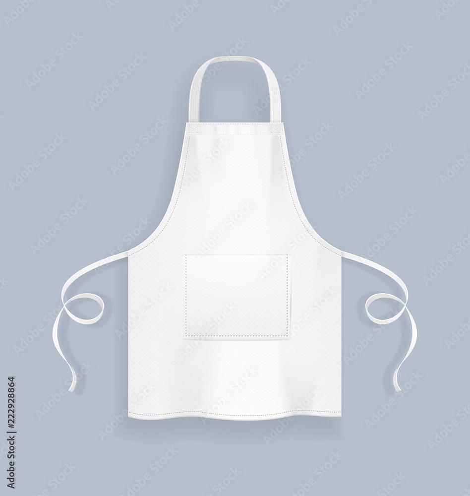 Fototapeta Realistic Detailed 3d White Blank Kitchen Apron Template Mockup. Vector