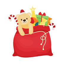 Red Christmas Bag With Presents. Vector Illustration. Cartoon Style.Santa's Bag