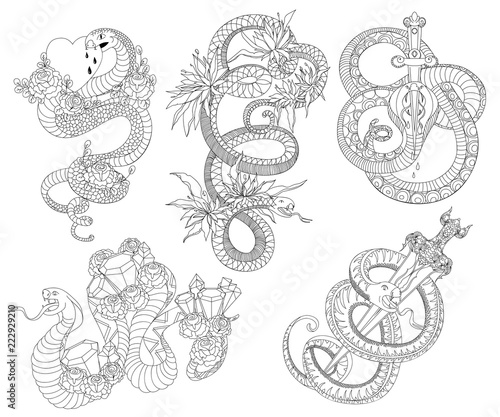 891bde59556cd Snakes set. Old school tattoo design. Black and white isolated elements.  Vector illustration