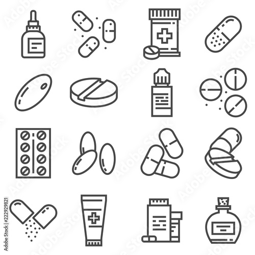 Pills and capsules icons set Fototapeta